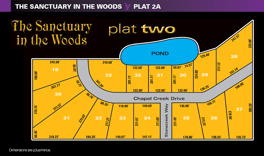 Sanctuary in the Woods plat two homesite map. Available new home construction land for sale in Perrysburg, Ohio