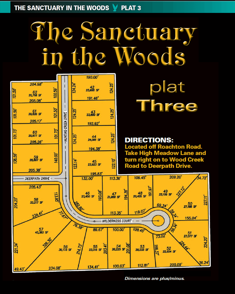 Sanctuary in the Woods plat three homesite map. Available new home construction land for sale in Perrysburg, Ohio