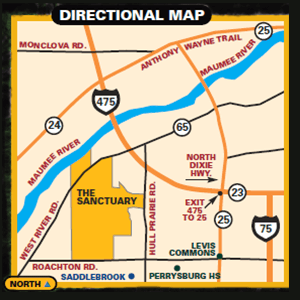 Directional map to Sanctuary Perrysburg, land for new home building in Perrysburg Ohio.