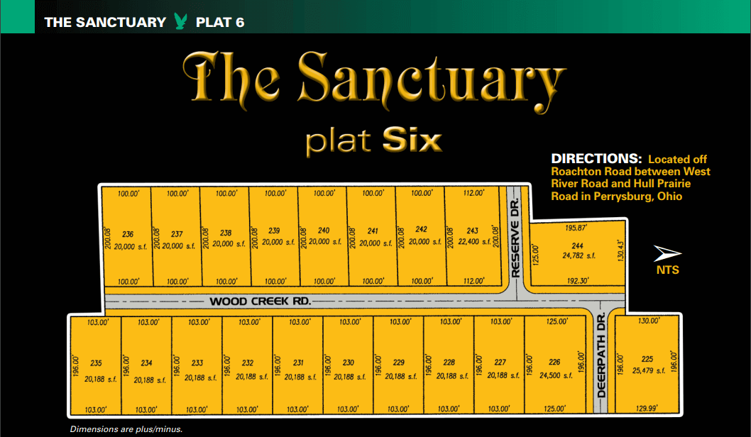 Sanctuary plat 6 lot map. One of the new home communities within The Sanctuary, extra large land for sale for homesites in Perrysburg, Ohio