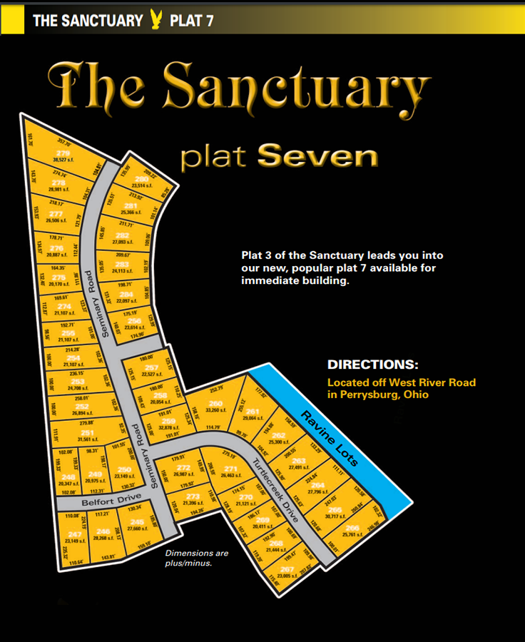 Sanctuary plat 7 lot map. One of the new home communities within The Sanctuary, extra large land for sale for homesites in Perrysburg, Ohio