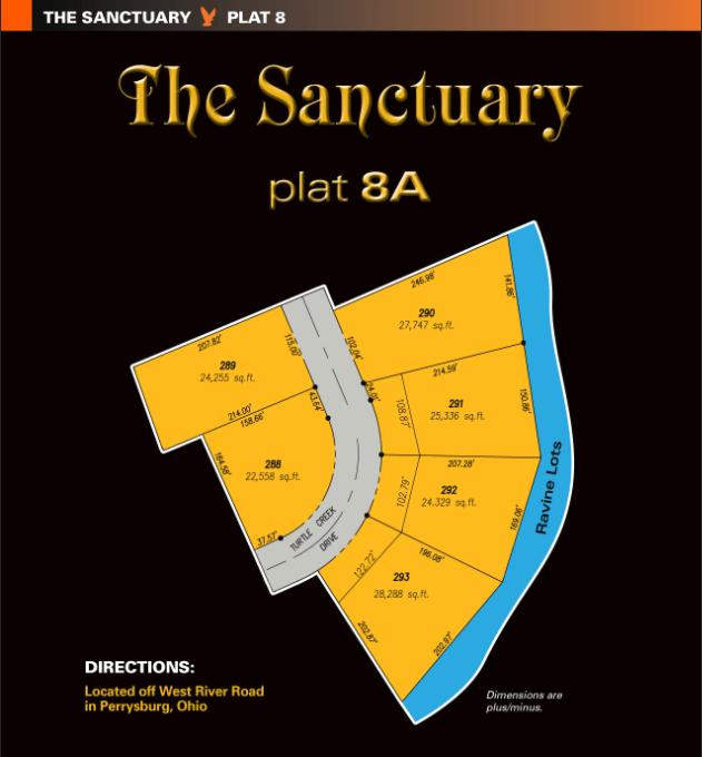 Sanctuary plat 8A lots for new home construction. One of the new home communities within The Sanctuary, extra large land for sale for homesites in Perrysburg, Ohio